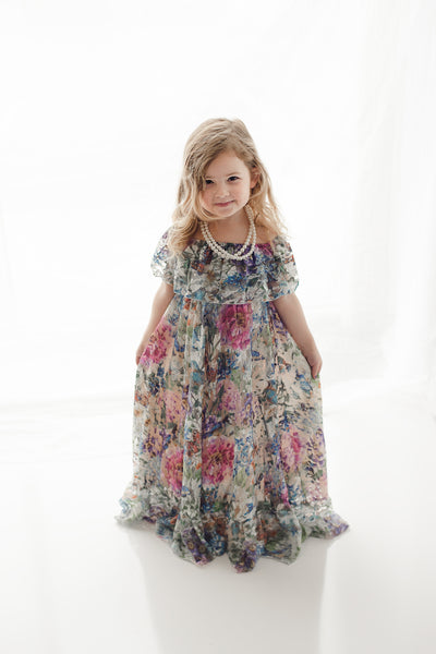 girls boho floral lace maxi dress and vintage tea party photography - Belle & Kai