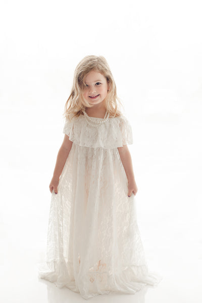 girls boho white lace off shoulder maxi dress tea party photoshoot - Belle & Kai