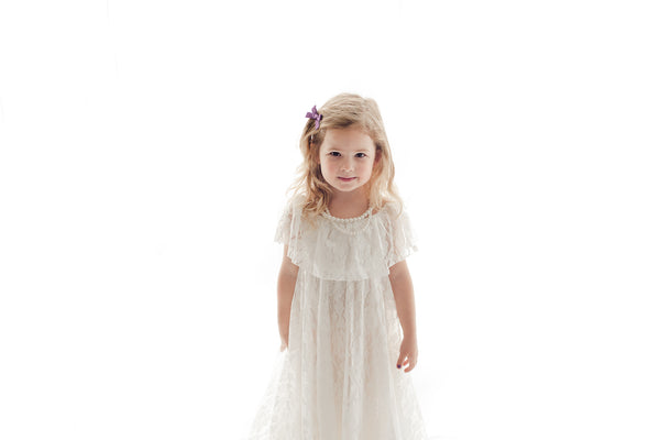girls boho chic white lace maxi dress bohemian kids clothing vintage tea party - Belle & Kai
