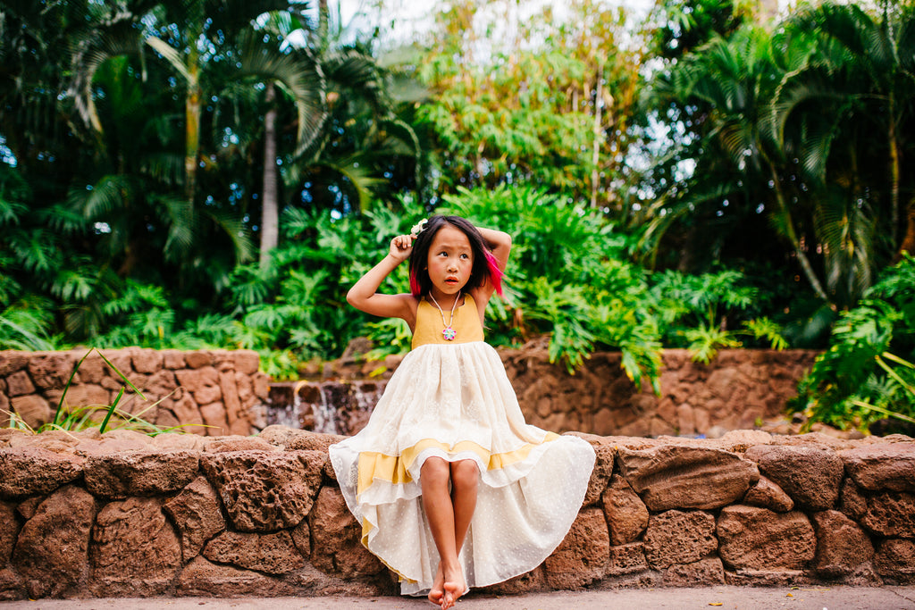 beach flower girl mustard yellow dress boho chic toddler tween high low dresses