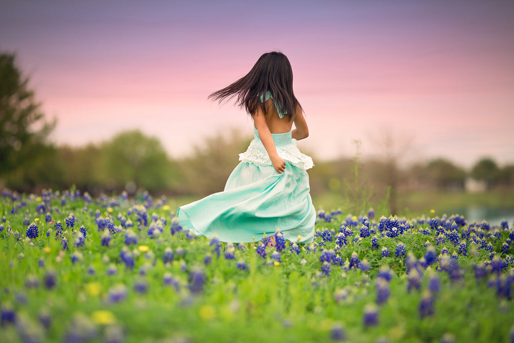 Texas bluebonnet photo ideas boho blue maxi dress for girls