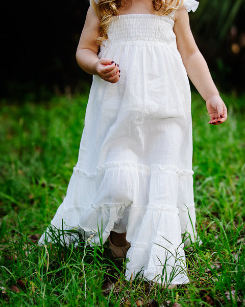 boho ivory flower girl maxi dress