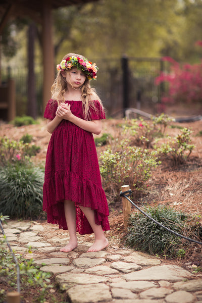 burgundy lace bohemian high low flower girl dress