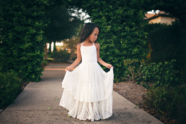 white lace flower girl maxi dress bohemian dresses for kids