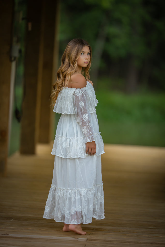 boho chic tween junior bridesmaid off shoulder embroidered maxi dress