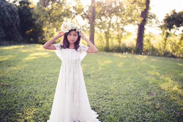 bohemian chic flower girl lace maxi dress