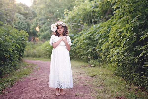off shoulder white lace boho maxi dress flower girl dress first communion dress