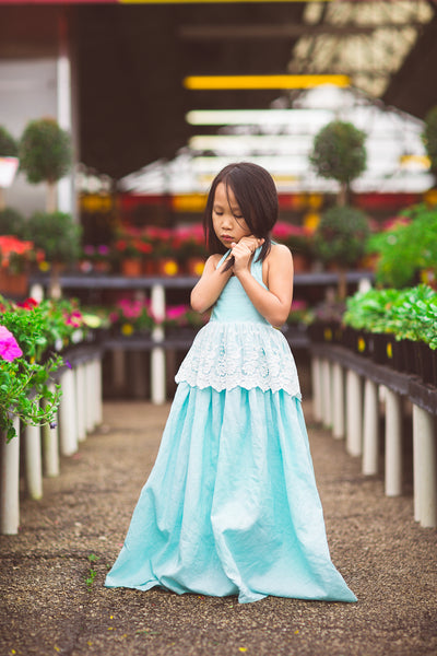baby blue linen flower girl boho maxi dress