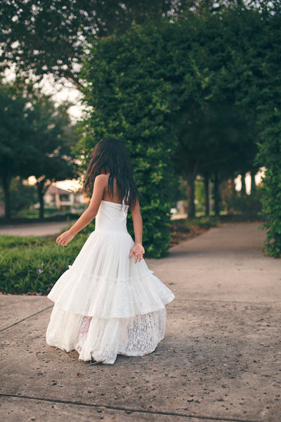 bohemian chic white lace flower girl maxi dresses