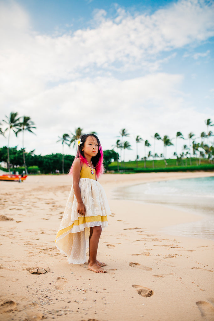 boho beach mustard yellow flower girl tween high lowdresses