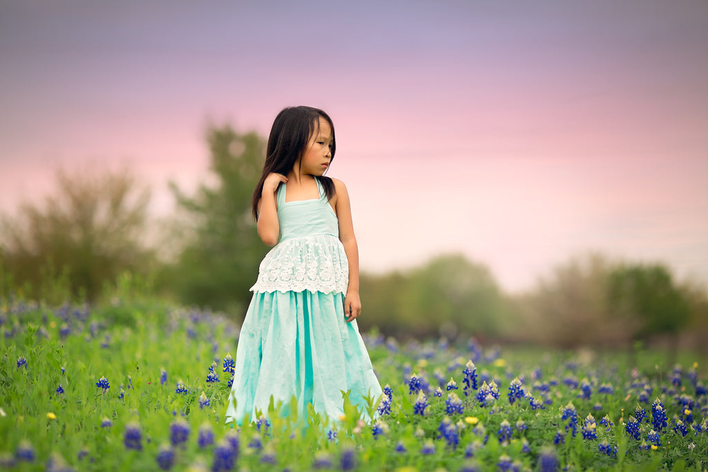 bluebonnet photo kids boho blue maxi dress