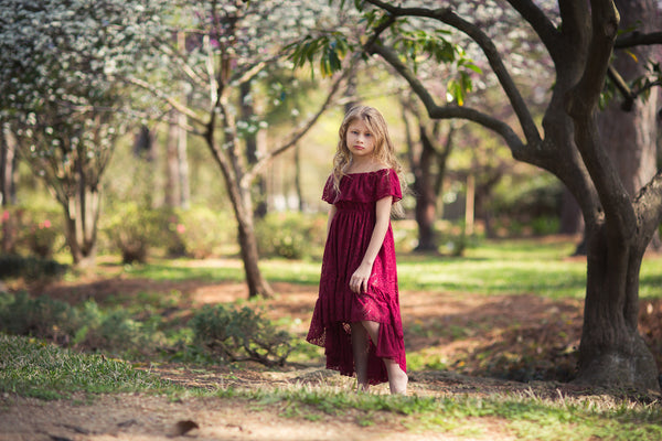 bohemian burgundy flower girl lace high low dress