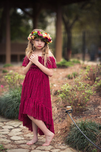 burgundy red boho lace high low flower girl dress