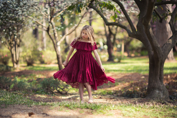 boho burgundy flower girl lace high low dress hi low dress
