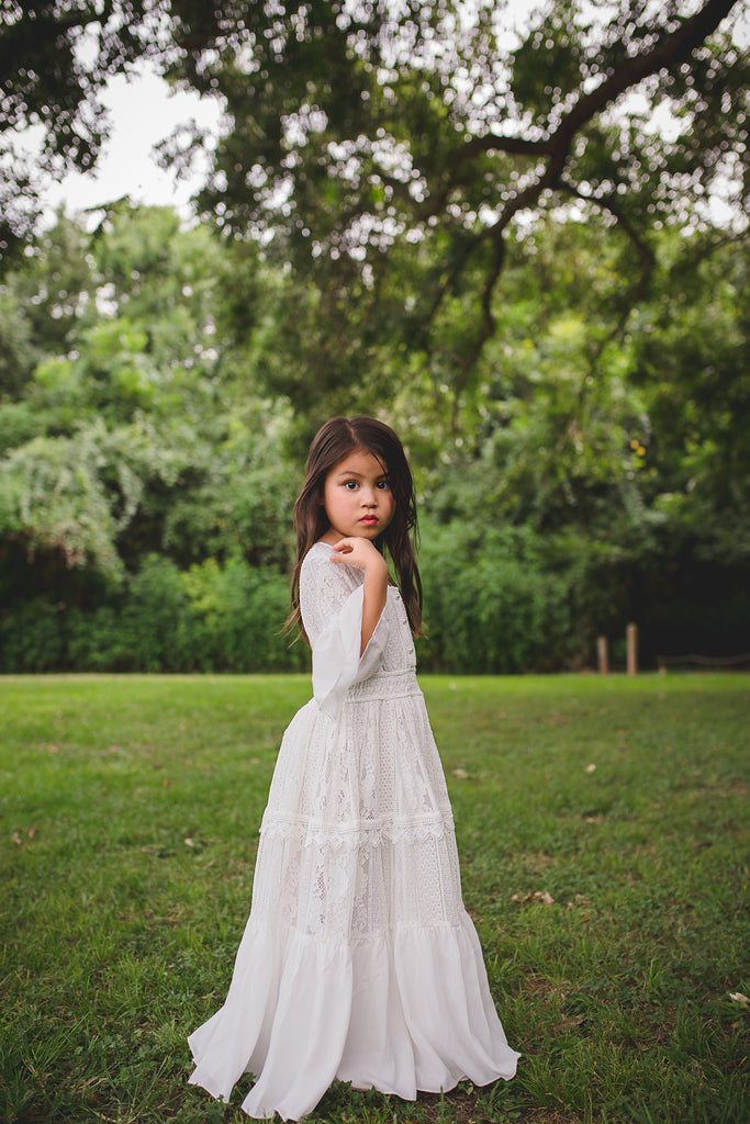 toddler girl boho lace maxi dress with ruffle bell sleeves