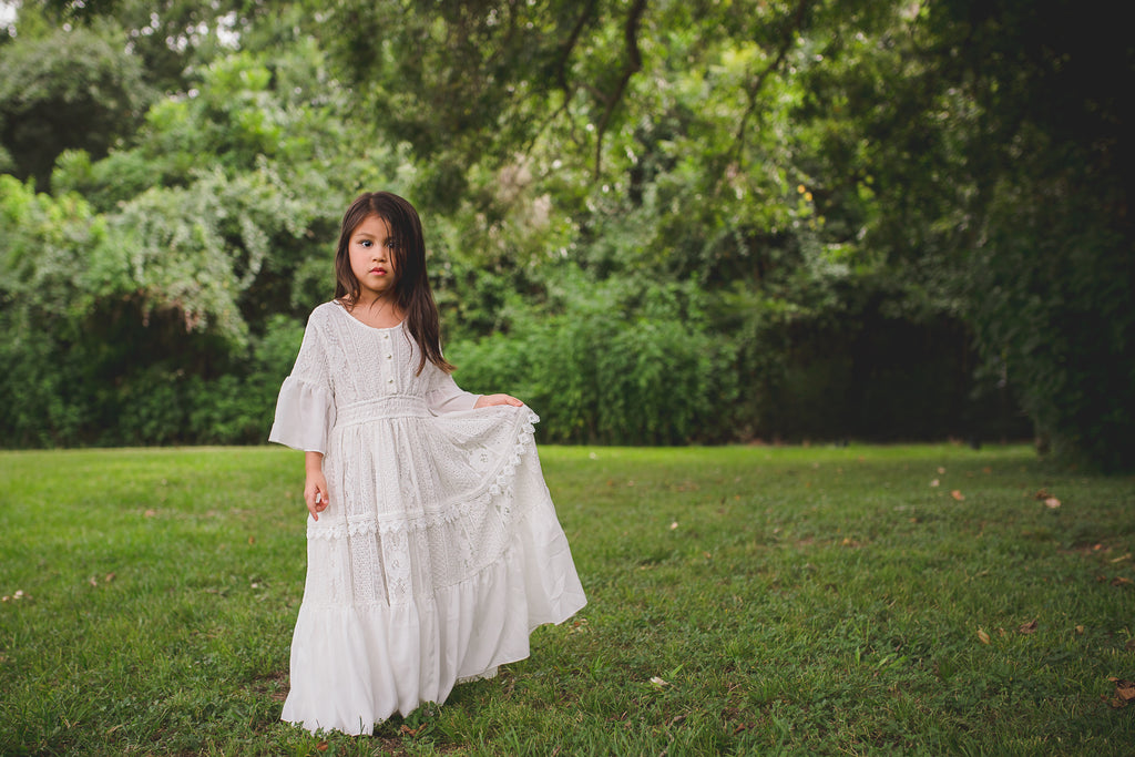 boho chic tween flower girl vintage lace maxi dress