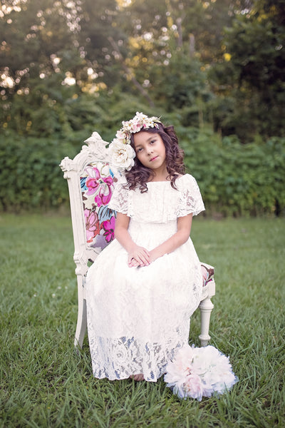 boho off shoulder white flower girl dress girls boho chic clothing communion dress