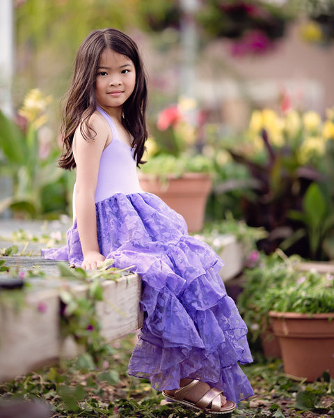 purple lavender boho flower girl high low dress