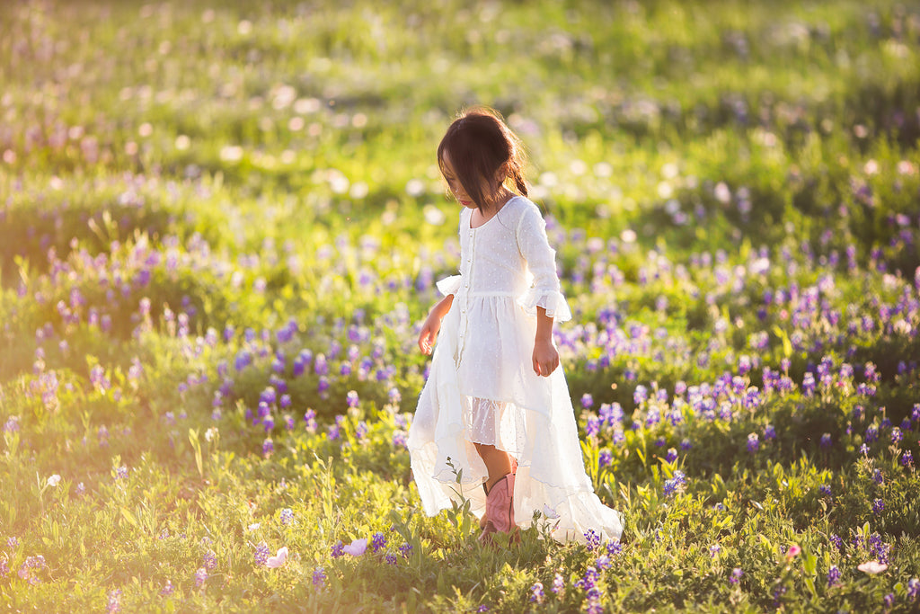 Texas bluebonnets boho photography inspiration boho high low maxi dress for girls
