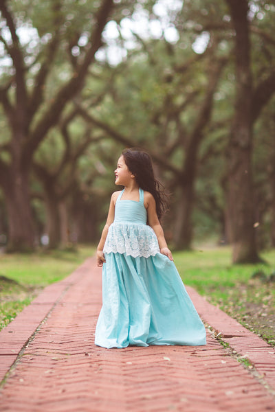 baby blue linen boho flower girl maxi dress