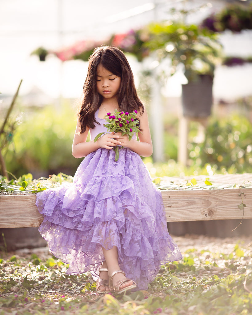 boho flower girl maxi dress purple lavender high low junior bridesmaid photography dress