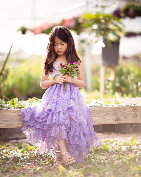 purple bohemian high low flower girl dress greenhouse photoshoot