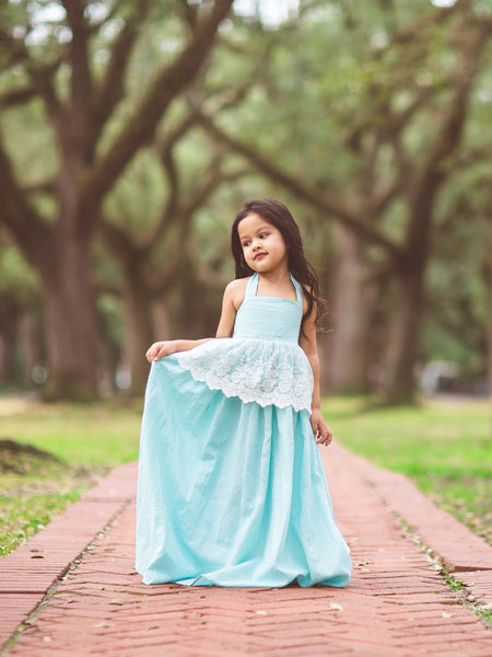 boho baby blue aqua linen flower girl maxi dress