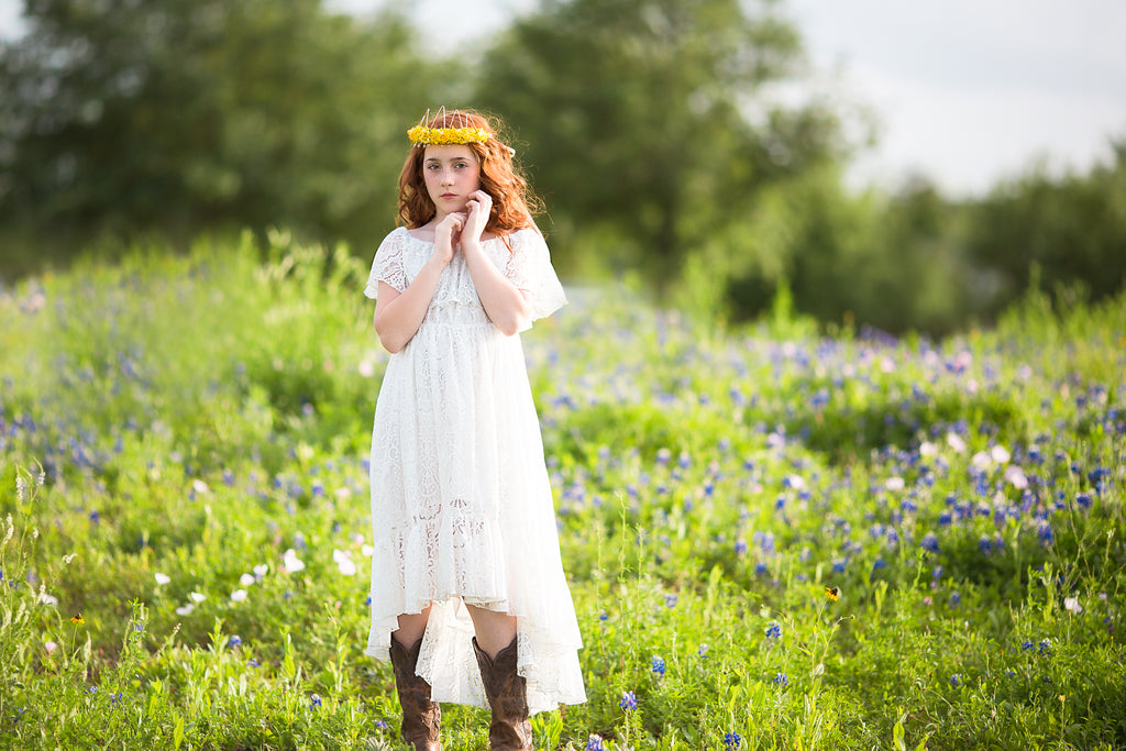 Texas bluebonnets photoshoot ideas boho high low lace dresses