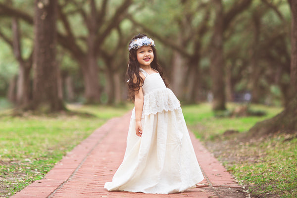 boho ivory flower girl linen lace maxi dress