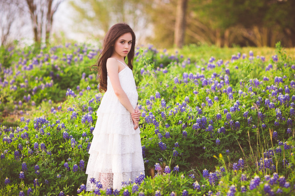bohemian lace flower girl dress Texas bluebonnet photo ideas for kids