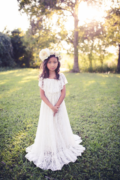boho lace flower girl maxi dress
