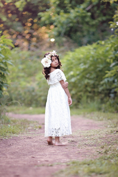 white lace off shoulder flower girl dress junior bridesmaid dress first communion dress