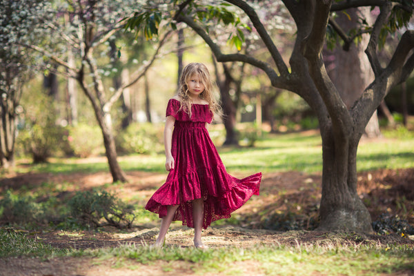bohemian lace burgundy high low flower girl dress