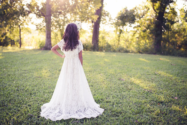 white lace boho flower girl maxi dress
