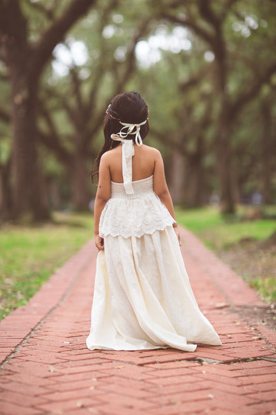 ivory bohemian flower girl linen maxi dress