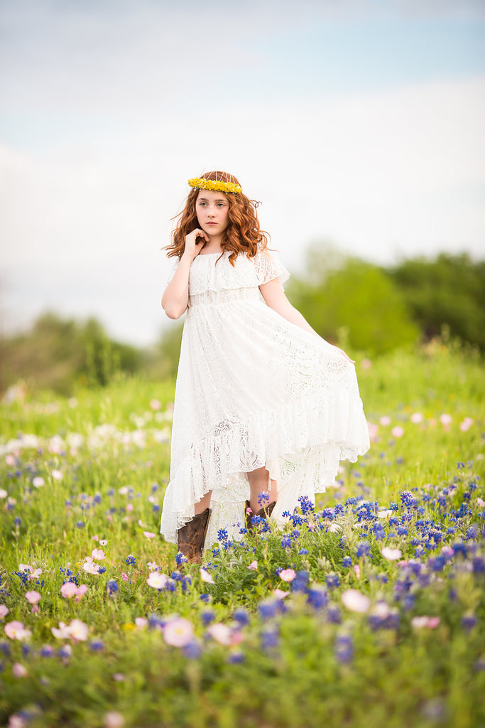 Texas bluebonnets boho photoshoot ideas bohemian lace high low dresses for girls