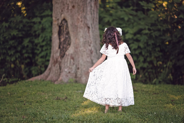 bohemian off shoulder flower girl dress junior bridesmaid dress first communion dress