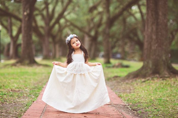 ivory bohemian lace linen flower girl maxi dress