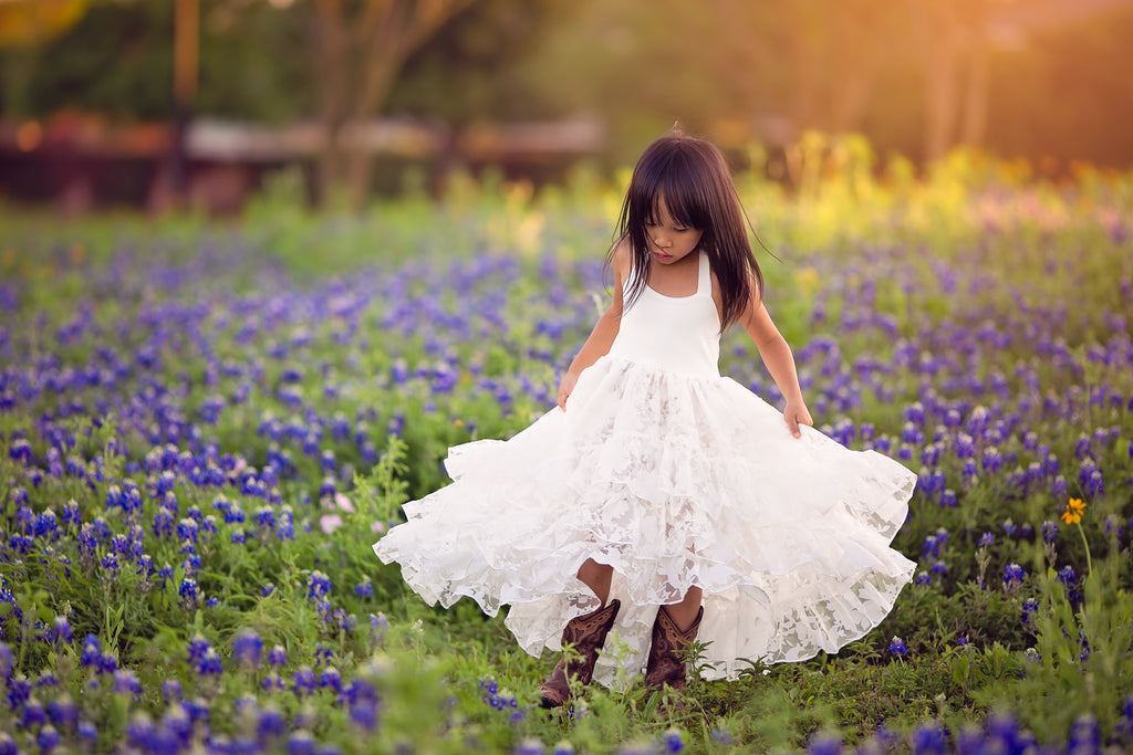 boho high low flower girl dress Texas bluebonnet kids photoshoot inspiration