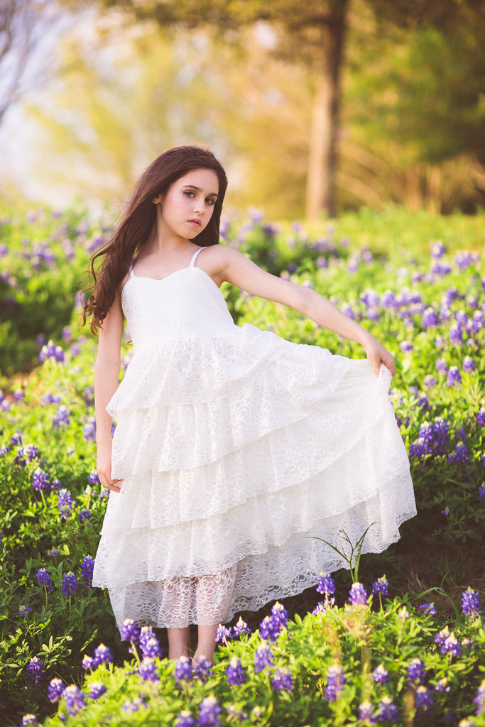 boho lace flower girl dress Texas bluebonnet photo ideas
