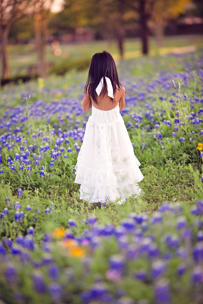 bohemian high low maxi dress for girls Texas bluebonnet photography idea