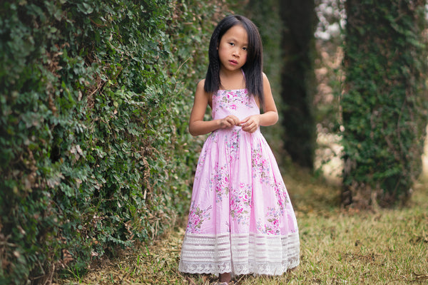 pink floral tea party cotton dress for girls toddlers - Belle & Kai