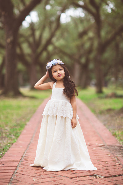 bohemian ivory linen lace flower girl maxi dress