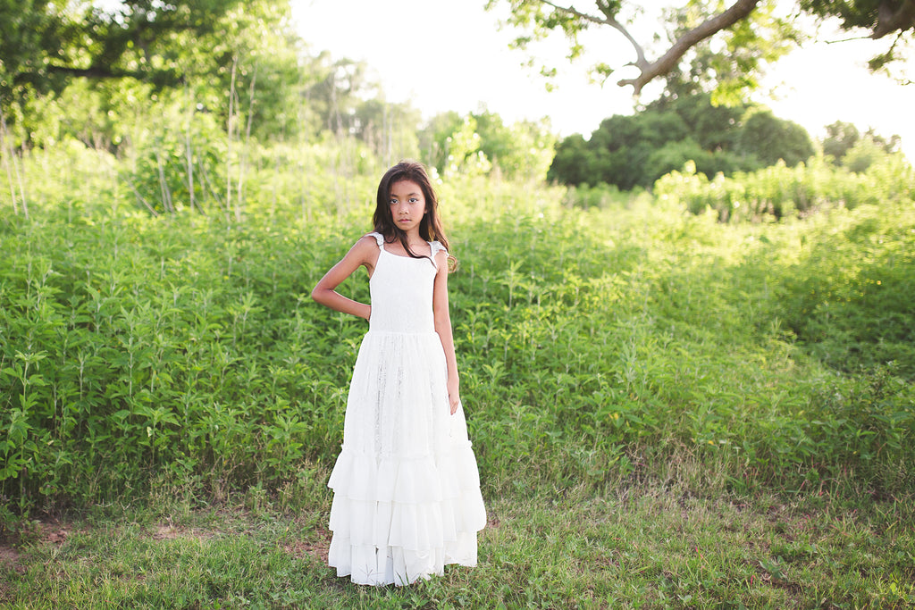 rustic lace white flower girl bohemian maxi dresses Christmas princess dress