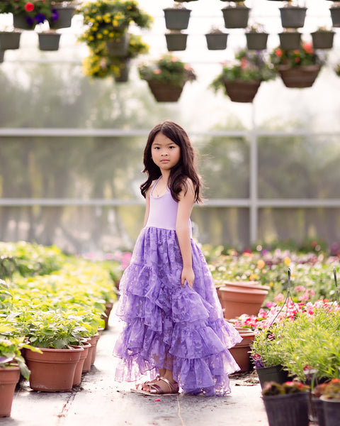 boho flower girl purple lavender high low dress