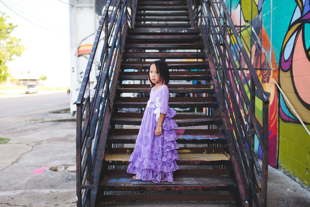 lavender rustic tween junior bridesmaid ruffle dresses toddler flower girl princess dresses