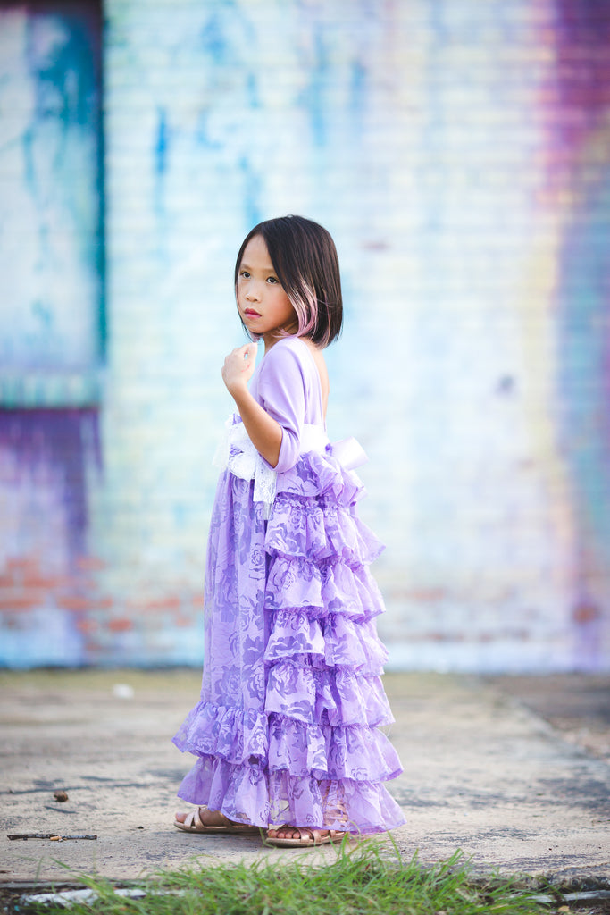 rustic lavender tween junior bridesmaid long ruffle dress purple flower girl princess dress