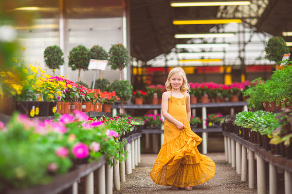 mustard yellow boho lace maxi dress greenhouse photoshoot
