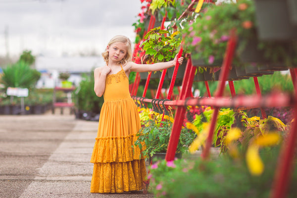 mustard yellow bohemian lace maxi dress for girls toddlers