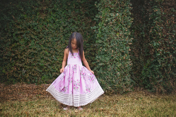 pink floral tea party Easter sundress for girls toddlers - Belle & Kai